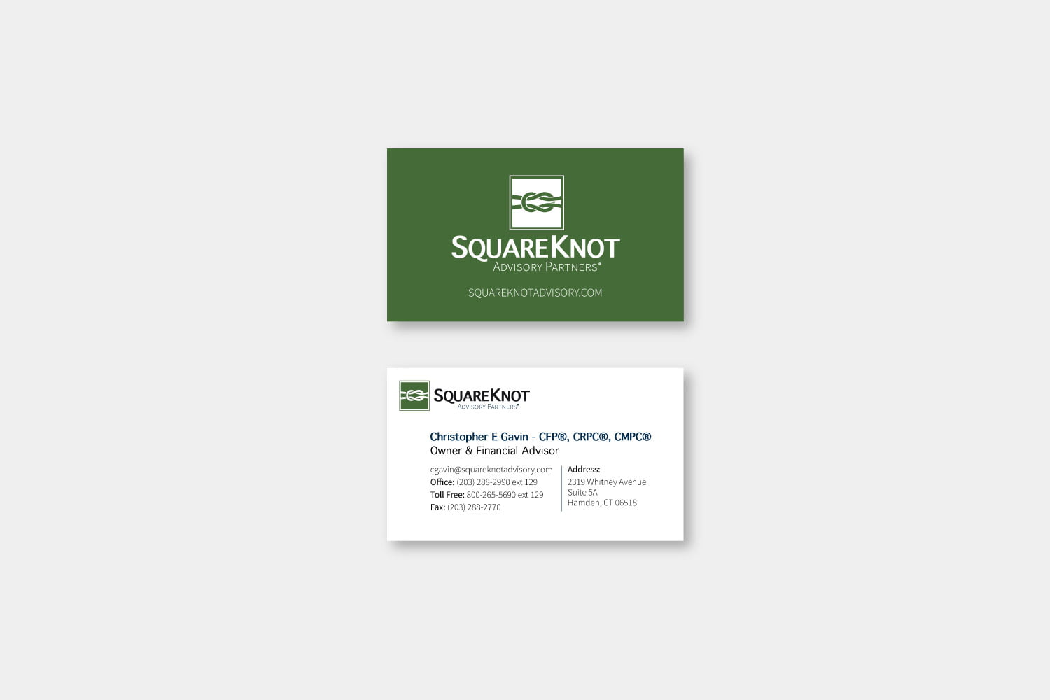Branding, logo, and business card designed for Squareknot Advisory Partners