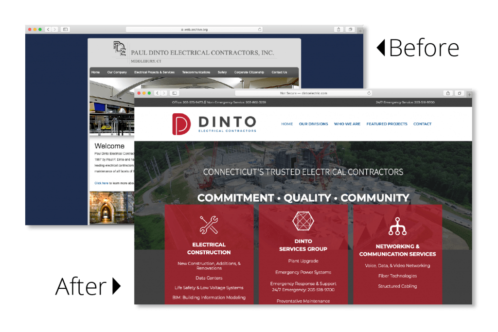 Dinto Electric website before and after photos