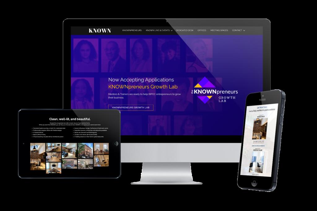 KNOWN website design by krative